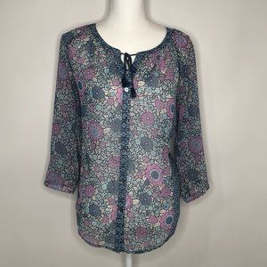 J Jill LS Blouse Floral Button Up Small